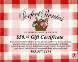 $50 gift certificate order